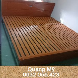 Giường sắt giả gỗ cao cấp