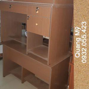 Bàn làm việc gỗ ép 2 hộc rộng 1m màu nâu